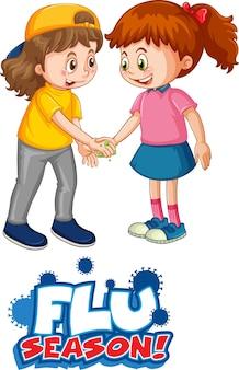 2人の子供と漫画スタイルのインフルエンザシーズンフォントは、白い背景で隔離された社会的距離を維持しません