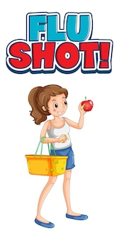 Flu shot font design with a girl holding shopping basket isolated on white background