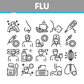 Flu symptoms medical collection icons set