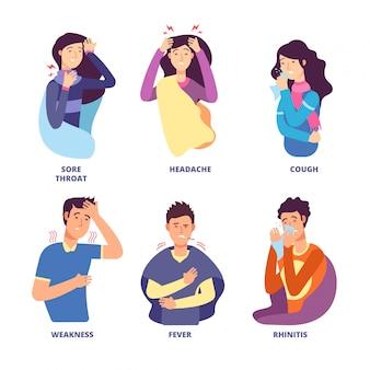 インフルエンザの症状。風邪病を示す人々。発熱咳、鼻水悪寒、めまい。インフルエンザ予防ポスターのベクトル文字
