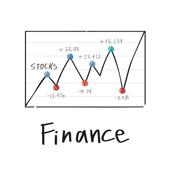 Fluctuation in financial stock market graph illustration