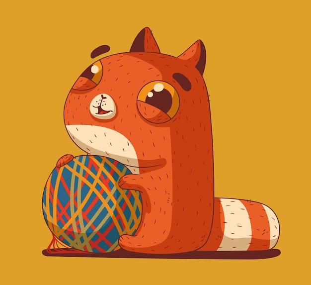 털실 공을 가지고 노는 푹신하고 귀여운 눈꺼풀 고양이
