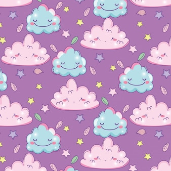 Fluffy clouds facial expression with stars background