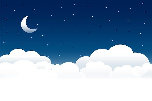Scena notturna di soffici nuvole con luna e stelle