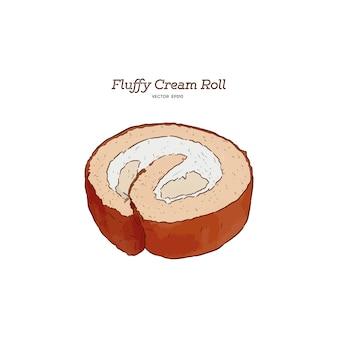 Fluffy cream roll cake