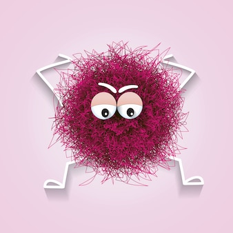Fluffy cute pink spherical creature worried and stressed