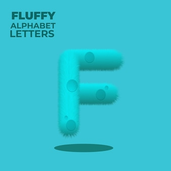 Fluffy gradient english alphabet letter f
