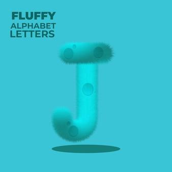 Fluffy gradient english alphabet letter j