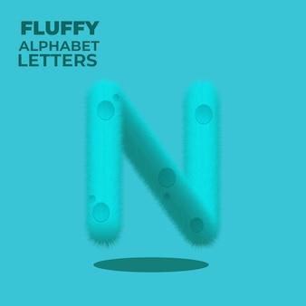 Fluffy gradient english alphabet letter n