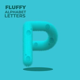 Fluffy gradient english alphabet letter p