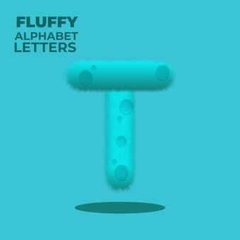 Fluffy gradient english alphabet letter t