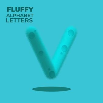 Пушистая буква v английского алфавита с градиентом