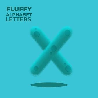 Пушистая буква x английского алфавита с градиентом