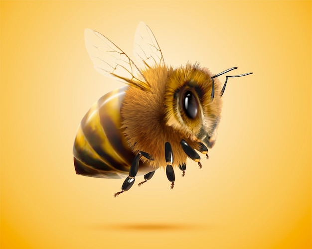 Fluffy honey bee in 3d illustration on yellow background