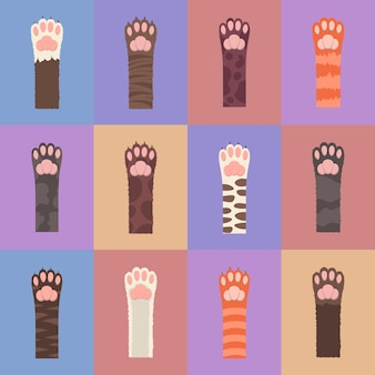 ふわふわの色とりどりの猫の足セット。シームレスなパターン、分離されたマルチカラーの猫の足。