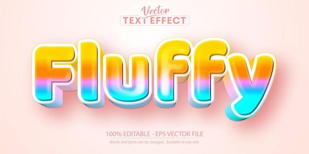 Пушистый текст, редактируемый текстовый эффект в мультяшном стиле
