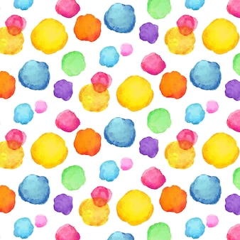Fluffy watercolor dotty seamless pattern