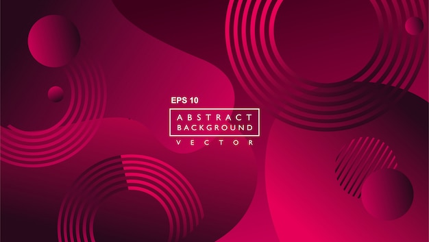 Fluid abstract background template. with circle and lines shape. red