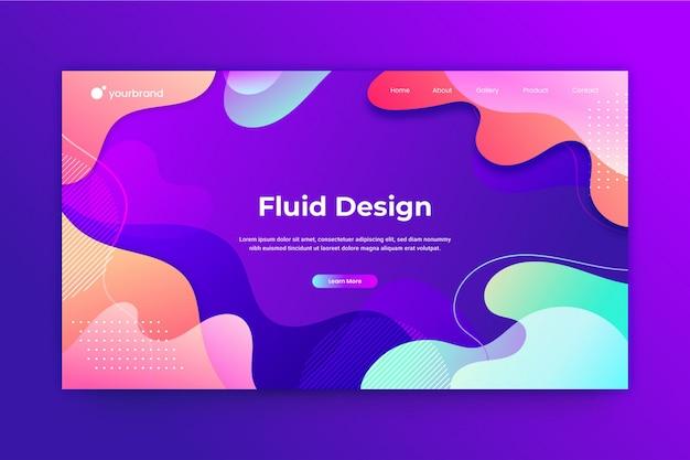 流体抽象的なウェブサイトのデザインまたはランディングページテンプレート