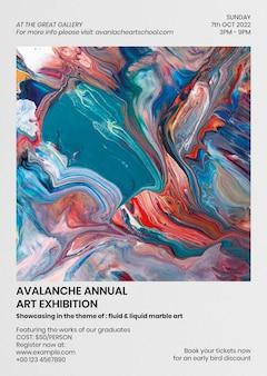 Modello di poster di arte fluida in stile estetico colorato