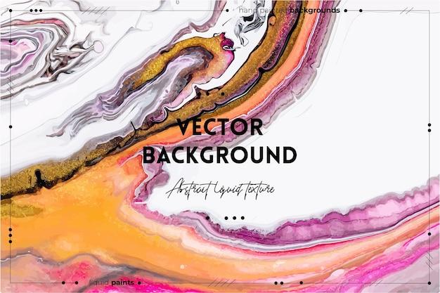 Жидкая художественная текстура. абстрактный фон с эффектом смешивания краски. картина жидким акрилом с потоками и брызгами. смешанные краски для фона или плаката. розовый, золотой и белый переливающиеся цвета.