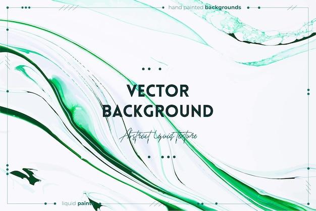 流動的なアートテクスチャ。抽象的な渦巻くペイント効果。緑と白のあふれる色。