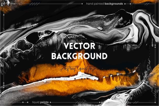 유체 예술 질감. 추상적 인 소용돌이 페인트 효과와 배경입니다. 아름다운 혼합 페인트가있는 액체 아크릴 삽화. 인테리어 포스터에 사용할 수 있습니다. 황금색, 검은 색, 회색으로 넘쳐나는 색상.