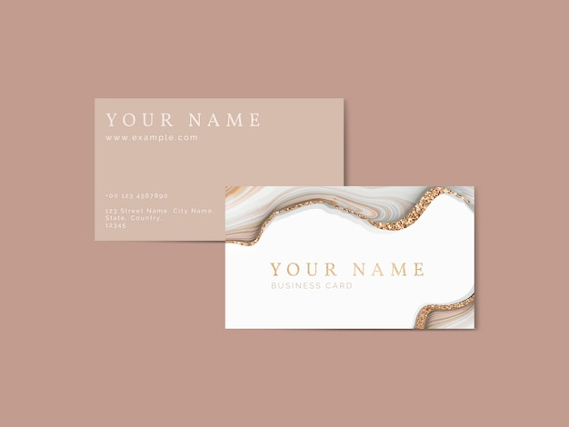 Fluid brush stroke on a business card template