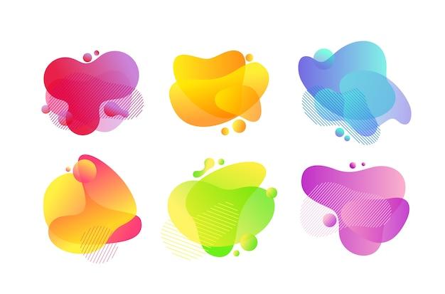 流体泡抽象的なイラストセット。ダイナミックなブラシストローク、カラフルなスポット。溶岩ランプ、グラデーションは、孤立したデザイン要素をはねかけます。白い背景の上の黄色、青、緑の平らな形
