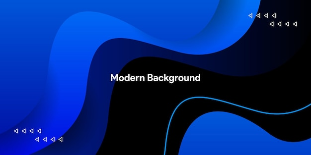 Жидкая красочная градиентная синяя кривая с плавной линией на черном фоне
