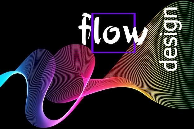 暗い背景に滑らかなカラフルなテクスチャ。フロー形状の設計。液体の波の背景。抽象的な3dフロー形状。流動的な色のパターン。