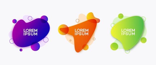 Fluid dynamic shape set modern futuristic gradient style for banner