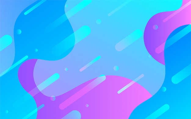 Fluid gradient shapes with memphis elements background