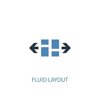 유체 레이아웃 개념 2 컬러 아이콘입니다. 간단한 파란색 요소 그림입니다. 유체 레이아웃 개념 기호 디자인입니다. 웹 및 모바일 ui/ux에 사용 가능