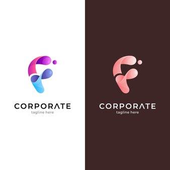 Fluid letter f logo design template