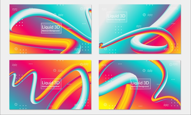 Fluid liquid colorful background set abstract