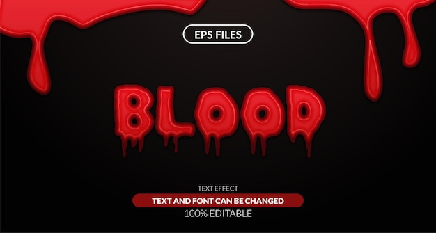 Fluid liquid red blood editable text effect. eps vector file. mystery horror and halloween theme