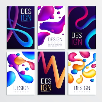 Fluid neon holographic abstract design elements cards collection of six vertical compositions with gradient curve shapes