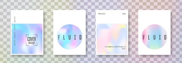 Fluid poster set. abstract backgrounds. colorful fluid poster with gradient mesh. 90s, 80s retro style. iridescent graphic template for placard, presentation, banner, brochure.