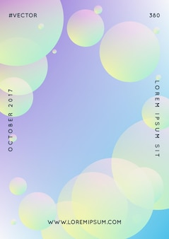 Fluid poster with round shapes. gradient circles on holographic background. modern hipster template for placards, covers, banners, flyers, presentations, annual. minimal fluid poster in neon colors.