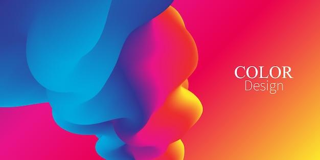 Жидкая форма. абстрактный поток. модный плакат. красочный футуристический градиент. геометрический фон. 3d баннер жидкости.