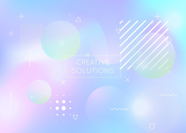 Fluid shapes background with liquid dynamic elements. holographic bauhaus gradient with memphis. graphic template for book, annual, mobile interface, web app. hipster fluid shapes background.