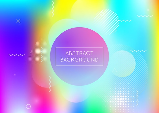 Fluid shapes background with liquid dynamic elements. holographic bauhaus gradient with memphis. graphic template for brochure, banner, wallpaper, mobile screen. colorful fluid shapes background.