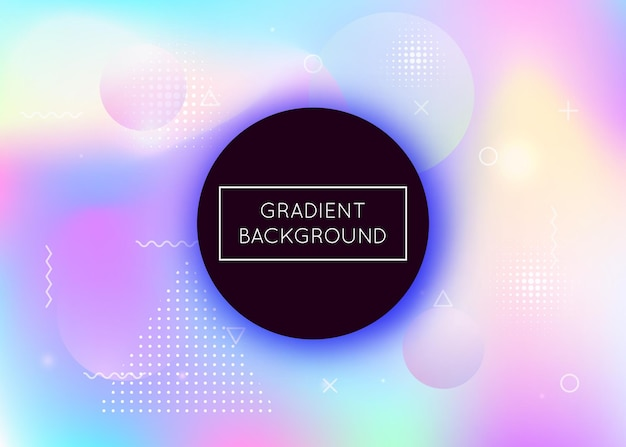 Fluid shapes background with liquid dynamic elements. holographic bauhaus gradient with memphis. graphic template for brochure, banner, wallpaper, mobile screen. stylish fluid shapes background.
