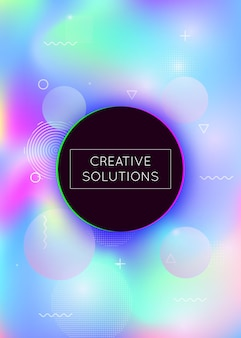 Fluid shapes background with liquid dynamic elements. holographic bauhaus gradient with memphis. graphic template for brochure, banner, wallpaper, mobile screen. trendy fluid shapes background.