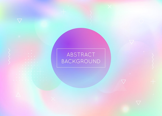 Fluid shapes background with liquid dynamic elements. holographic bauhaus gradient with memphis. graphic template for flyer, ui, magazine, poster, banner and app. iridescent fluid shapes background.