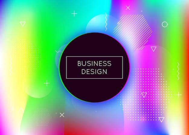 액체 동적 요소와 유체 모양 배경입니다. 멤피스가 있는 홀로그램 바우하우스 그라데이션. 책, 연간, 모바일 인터페이스, 웹 앱용 그래픽 템플릿. 무지개 빛깔의 액체 모양 배경입니다.