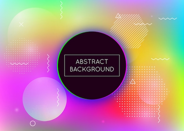 Fluid shapes background with liquid dynamic elements. holographic bauhaus gradient with memphis. graphic template for placard, presentation, banner, brochure. rainbow fluid shapes background.