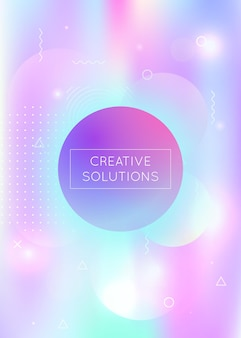 Fluid shapes background with liquid dynamic elements. holographic bauhaus gradient with memphis. graphic template for placard, presentation, banner, brochure. retro fluid shapes background.