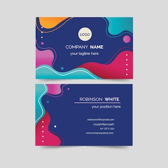 Fluid shapes colourful business card template